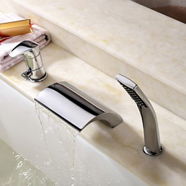 Bathtub Tap - Contemporary - Handshower Included / Waterfall Chrome)