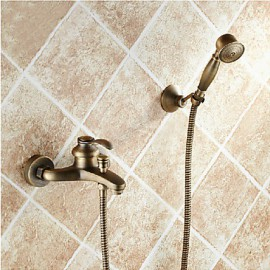 Bathroom Wall Mounted Antique Brass Bathtub Tap with Hand Shower Set