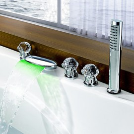 Bathtub Tap - Contemporary - LED / Waterfall / Sidespray - Brass (Chrome)