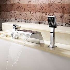 Bathtub Tap - Contemporary - Handshower Included / Waterfall - Stainless Steel (Chrome)