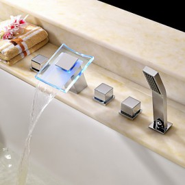 Bathtub Tap - Contemporary - LED / Waterfall / Handshower Included - Brass (Chrome)