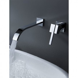 Wall Mount Contemporary Brass Widespread Waterfall Bathroom Sink Tap Single Handle Bathtub Mixer Taps
