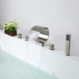 Bathtub Tap - Contemporary - Waterfall / Handshower Included - Brass (Nickel Brushed)