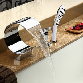 Tub Tap Waterfall / Widespread with Chrome Single Handle Three Holes