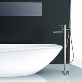 Shower Tap / Bathtub Tap - Contemporary - Handshower Included / Floor Standing - Brass (Chrome)