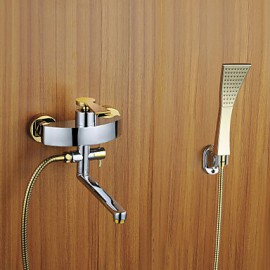 Shower Tap / Bathtub Tap - Contemporary - Handshower Included - Brass (Chrome)