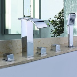 Shower Tap / Bathtub Tap - Contemporary - Handshower Included / Waterfall - Brass (Chrome)