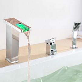 Bathtub Tap - Contemporary - LED / Waterfall / Sidespray - Brass (Chrome)