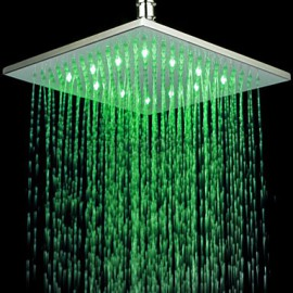 Monochrome LED Shower Nozzle Top Spray Shower Nozzle (Green)(10 Inch)