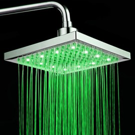 Chrome Finish Rectangular Temperature-controlled 3 Colors LED Shower Head