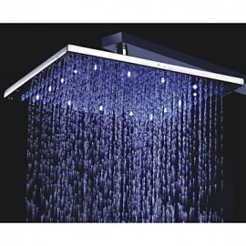 12 Inch Square Brass Rainfall Shower Head With 3 Colors Temperature Sensitive LED