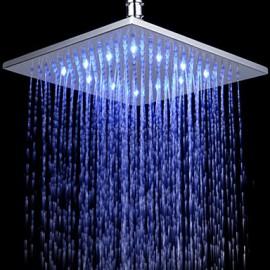 12 Inch Chromed Brass Square LED Rain Shower Head
