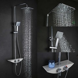 High Quality Fashion Wall-Mounted Brass Chrome 38 Degrees Smart Thermostatic Shower Faucets Set - Silver