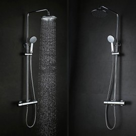 Contemporary Wall Hanging Type Brass Chrome 38 Degrees Smart Thermostatic Shower Faucets Set - Silver