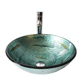 Multicolor Round Tempered Glass Vessel Sink with Straight Tube Tap ,Pop - Up Drain and Mounting Ring