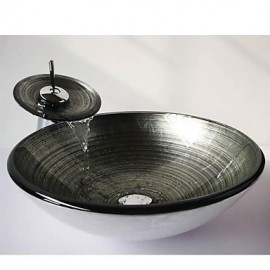The Silver Spiral Round Tempered Glass Vessel Sink with Waterfall Tap ,Pop - Up Drain and Mounting Ring