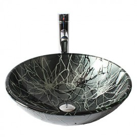 Gray Round Tempered Glass Vessel Sink with Straight Tube Tap ,Pop - Up Drain and Mounting Ring