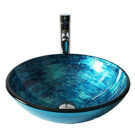 Blue Round Tempered Glass Vessel Sink with Straight Tube Tap ,Pop - Up Drain and Mounting Ring