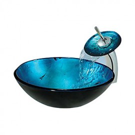 Blue Round Tempered glass Vessel Sink With Waterfall Tap
