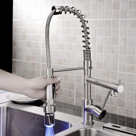 Kitchen Tap LED / Centerset / Pull out with Brushed Single Handle One Hole