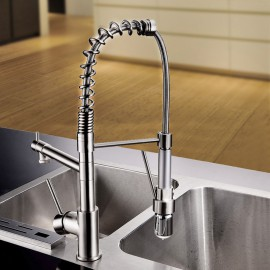 Personalized Contemporary Kitchen Tap Nickel Brushed Finish Single Handle LED Pull-out spout