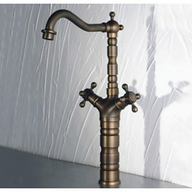 180 Degree Swivel Antique Inspired Brass Kitchen Faucet Bathroom Sink Mixer Tap With Two Handle Antique Brass Finish