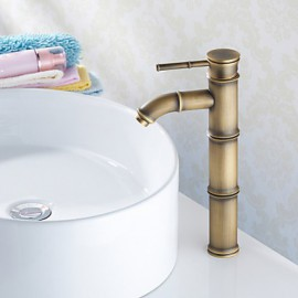Vessel Single Handle One Hole in Antique Brass Bathroom Sink Tap