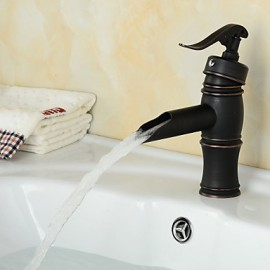 Antique Style Orb Single Handle One Hole Hot And Cold Water Bathroom Sink Faucet - Black