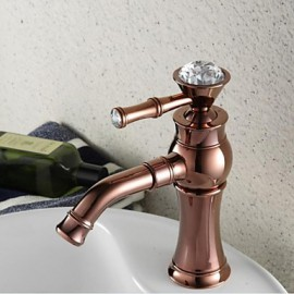 Contemporary Rose Gold Finish Single Hole Single Handle Brass Bathroom Sink Faucet