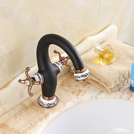 Contemporary Style Orb & Gold Plating & White Plating Single Handle One Hole Hot And Cold Water Bathroom Sink Faucet