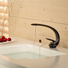 Contemporary Style Slim Shape Single Handle One Hole Hot And Cold Water Bathroom Sink Faucet - Black