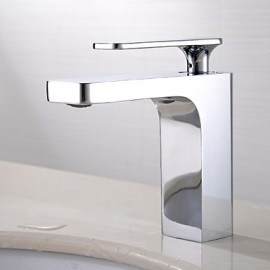 Contemporary Chrome Finish Brass One Hole Single Handle Sink Faucet