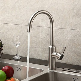 Contemporary Brushed Chrome Finish Stainless Steel Kitchen Faucet