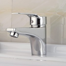 Bathroom Sink Faucet Brass Chrome Finish Deck Mounted Single Handle Single Hole Cold And Hot Water