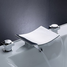 Widespread Two Handles Three Holes in Chrome Bathroom Sink Tap