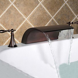 Oil Rubbed Bronze Widespread Waterfall Bathroom Sink Tap