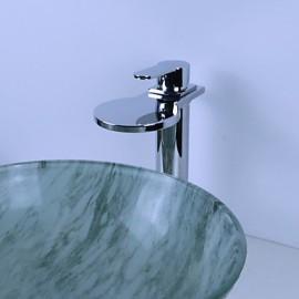 Vessel Single Handle One Hole in Chrome Bathroom Sink Tap