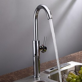 Vessel Single Handle One Hole in Chrome Kitchen Tap