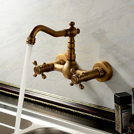 Wall Mounted Two Handles Two Holes with Antique Brass Kitchen Tap