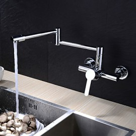 Wall Mounted Single Handle Two Holes with Chrome Kitchen Tap