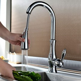 Traditional Chrome Finish One Hole Single Handle Deck Mounted Rotatable Pullout Spray Kitchen Tap
