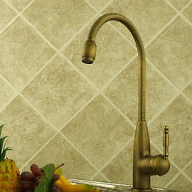 Deck Mounted Single Handle One Hole with Antique Brass Kitchen Tap