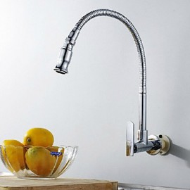 Wall Type Arbitrary Rotating Chrome Plated Brass Kitchen Sink Tap - Silver