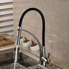 Deck Mounted Solid Brass Chrome Finish Single Handle Single Hole Pull Down Kitchen Tap