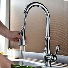 Contemporary Chrome Finish One Hole Single Handle Pull-down Kitchen Tap