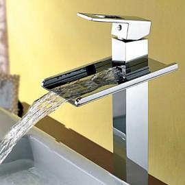 Waterfall Bathroom Sink Tap Contemporary Chrome Brass Vessel