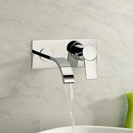 Wall Mounted Single Handle Two Holes in Chrome Bathroom Sink Tap