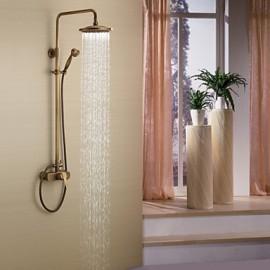 Antique Brass Tub Shower Tap with 8 inch Shower Head + Hand Shower
