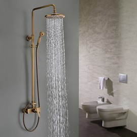 Shower Tap Wall Mount with Antique Brass Single Handle Three Holes