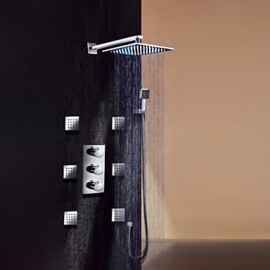 Shower Tap Contemporary LED / Thermostatic / Rain Shower / Widespary / Handshower Included Brass Chrome